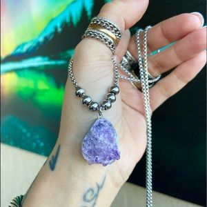 Genuine amethyst cluster on stainless steel chain